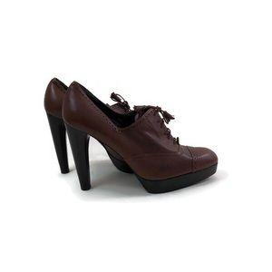 Stuart Weitzman Sz 10 Brown Leather Lace up Heels